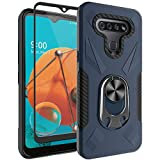 Oleaders for LG K51 Case with Tempered Glass Screen Protector, Rotatable Metal Ring Holder Compatible with Magnetic Car Kickstand Case for LG K51 - Blue