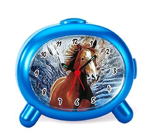 Atlanta Kinderwecker Pferde mit Tiergeräusch Blau - 1183-P