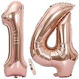 2 Globos Número 14 Oro Rosa, Globo de Papel Aluminio Gigante Numero 14 Globo 100cm con Cinta 40  Globo Inflable de Helio para Decoración de Fiesta de Cumpleaños Fiesta de Graduación