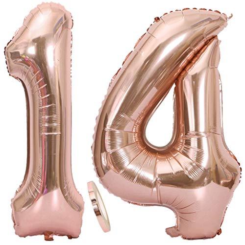 2 Globos Número 14 Oro Rosa, Globo de Papel Aluminio Gigante Numero 14 Globo 100cm con Cinta 40