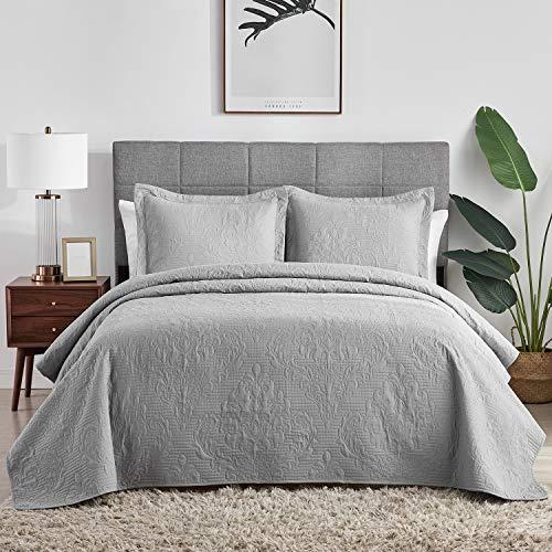 Hansleep Graue gesteppte Tagesdecke/Überwürfe für Doppelbett, 3-teiliges Set mit 2 Kissenbezügen, 220 x 240 cm