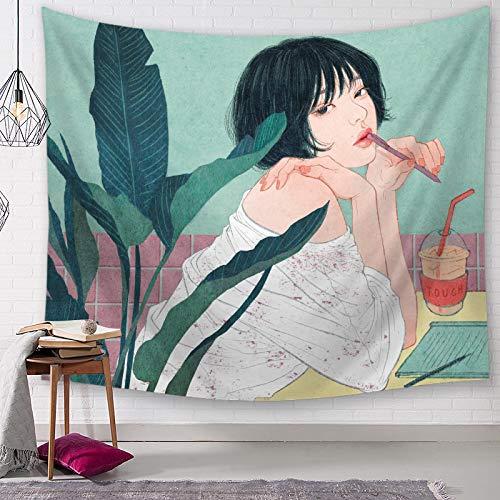 letaowl Tapiz de pared para niña de la personalidad de la señora de tela para colgar de la decoración del hogar, sala de estar, cortina bohemia, tapiz de 2000 mm x 1500 mm 1