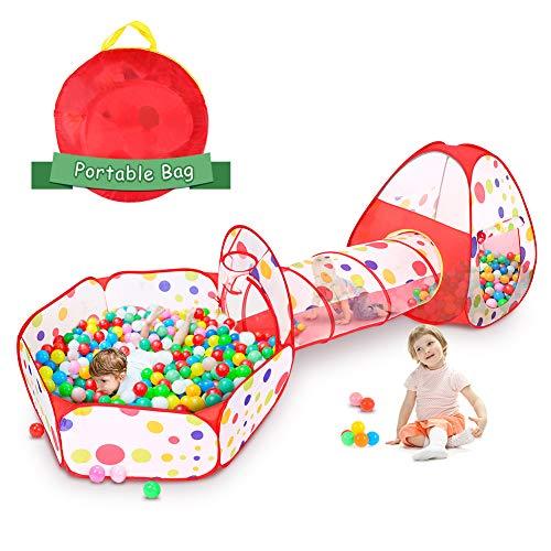 Cocoarm Spielzelt mit Tunnel Spieltunnel 3 In 1 Kinderspielzelt Kinderzelt Indoor Outdoor Babyzelt Pop Up Zelt mit Tunnel und Spiel Zelt Ideal für Zuhause und Garten