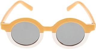 Perfeclan - Perfeclan Gafas de Sol de Forma Redonda para niñas Bonitas Gafas de Playa al Aire Libre para niños pequeños - Yellow White