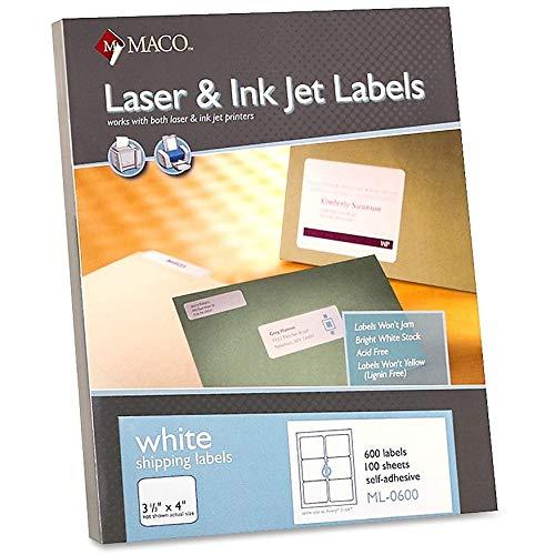Maco ML0600 - Etiquetas multiusos (3 33 x 4, 600 unidades), color blanco