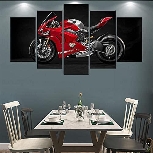 104Tdfc Cuadro sobre Lienzo 5 Piezas Impresión En Lienzo Panigale V4 R Race Motocicleta 150X80CM Grabados e Impresiones Obras de Arte Hogar Decorativo Impresiones sobre Lienzo Hogar Regalo