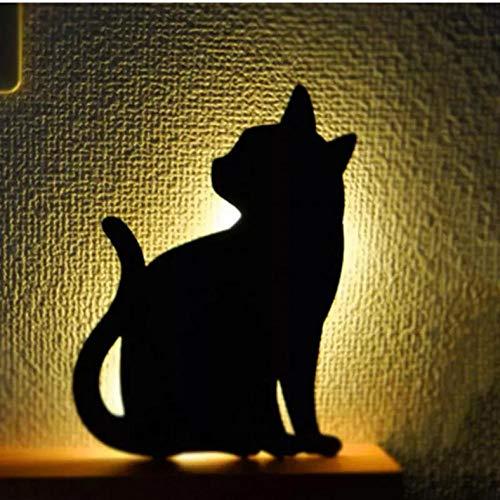 LED Animal Shape Sensor de movimiento Control Smart Sound Lámpara de pared Home Corridor Balcón Iluminación nocturna Bebé Niños Cute Cat Sleep Lamps-Cat_B
