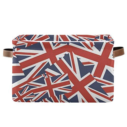 Mnsruu Großer faltbarer Aufbewahrungskorb, britische Flagge, Stoff-Aufbewahrungsboxen mit Handgriffen für Schrank, Badezimmer