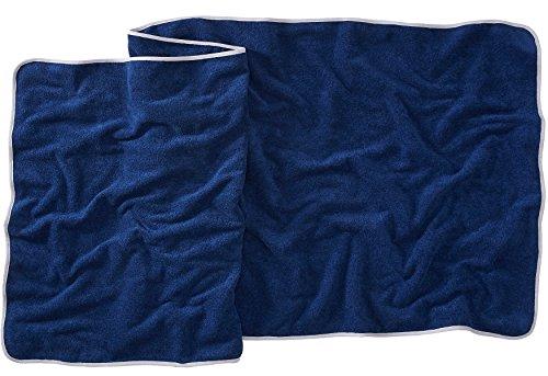 Sowel® Strandtuch XXL aus 100% Bio-Baumwolle, Badetuch Groß, Saunatuch, Damen und Herren, 220 x 80 cm, Navy/Grau