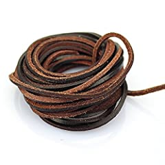 3 mm Flat Leather Cord; Length: 5 yards Made of genuine leather, not spliced leather string Manufactured by LolliBeads and Pictures taken by LolliBeads on real productsManufactured by LolliBeads and Pictures taken by LolliBeads on real products AAA Q...