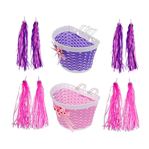 Jili Online Girls Bike Decoration- Front Basket and 4 Pairs Billing Handlebar Streamers