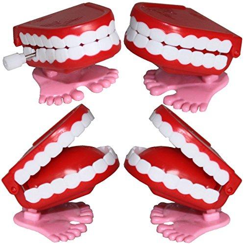 4 hüpfende Klappergebisse Scherzartikel hüpfende dritte Zähne Gebisse