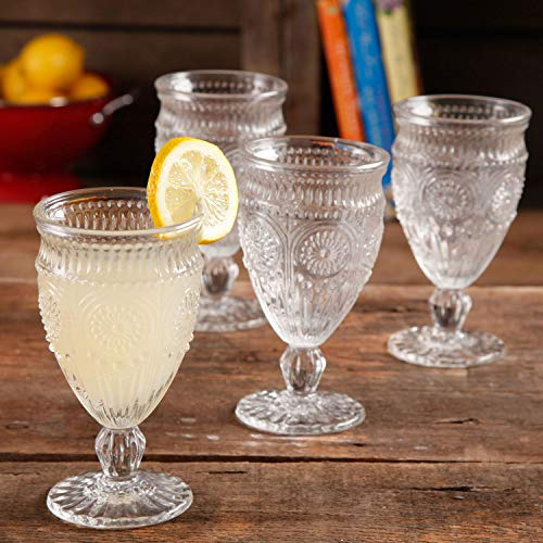 The Pioneer Woman Adeline Embossed 12-Ounce Clear Footed Glass Goblets, Set of 4 by The Pioneer Woman