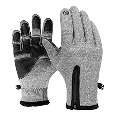 CapsA Touchscreen Running Gloves Screen Induction Winter Waterproof Windproof Thermal Gloves for Running Cycling Biking Riding Driving Outdoor Sports Gloves for Men Women (Gray, XL)