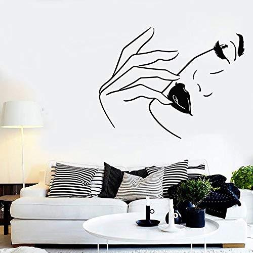Cara de mujer tatuajes de pared labios modelo de moda modelo de moda salón de belleza chica dormitorio tocador decoración de interiores vinilo adhesivo mural