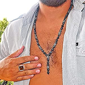 Men Labradorite Necklace - Surfer necklace - Fashion Boho necklace