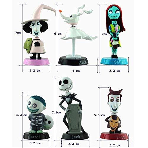 Yangzou 6 Piezas Pesadilla Antes De Navidad Jack Skellington Tim Burton Figura De Acción En Movimiento Colección Muñeca De Juguete