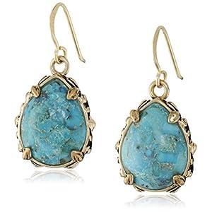 Teardrop Bronze and Turquoise Earrings
