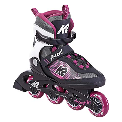 K2 Skate Damen Inline Skate Ascent 80 W — Black - Purple — EU: 39 (UK: 5.5 / US: 8) — 30F0760