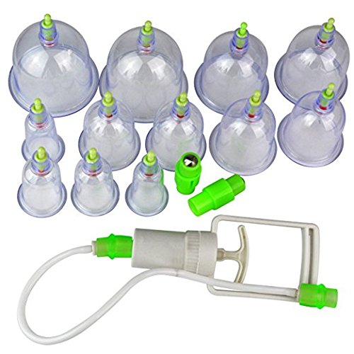 Chinesische Schröpfen Vakuum-Sauggreifer-Massage-Therapie Set 12 Cup Größen
