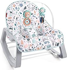 Portable baby seat and rocking chair for use from infant to toddler (up to 40 lb/18 kg) Two recline positions and removable toy bar with two bat-at toys Calming vibrations help soothe your baby Fold-out kickstand for stationary seating Machine-washab...