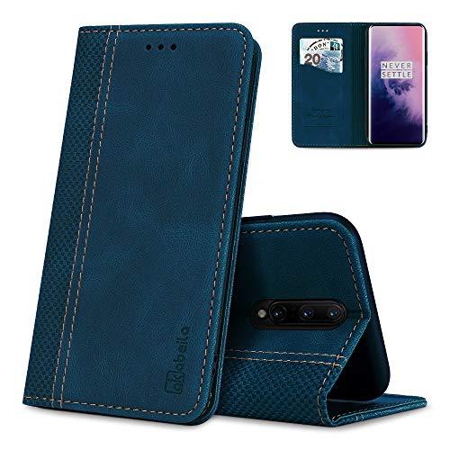 AKABEILA Oneplus 7 Pro Hülle Leder, Oneplus 7 Pro Handyhülle Silikon, Kompatibel für Oneplus 7 Pro Schutzhülle Brieftasche Klapphülle PU Magnetverschluss Kartenfächer Hüllen, Blau