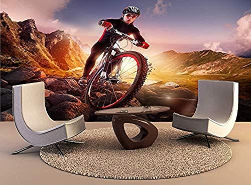 XHXI Arte de pared Bicicleta de montaña Ciclista Montar pared Impresión de pared Mural Tatuajes de p Pared Pintado Papel tapiz 3D Decoración dormitorio Fotomural sala sofá pared mural-430cm×300cm