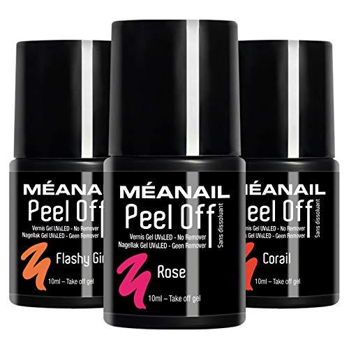 Set de 3 Esmaltes Semipermanentes Peel Off de 10 ml • No