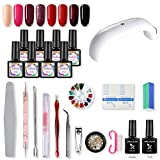SHELLOLOH Kit de Esmaltes Semipermanentes 9W Lámpara U-V/LED de Uñas Secador 8pcs Esmalte en Gel Uñas Soak off 10m Base Top Coat Manicura Kit