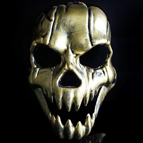chenyu 2 Stück Terror Maske Halloween Totenkopf Maske Kunststoff Cosplay Dämon Halbmaske (Gold + Silber) Full face