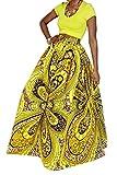 Women African Summer Print Pleated High Waist Maxi Skirt Casual A Line Skirt(Yellow Geometric 4), XL