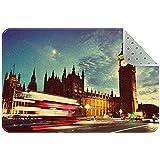 Yoliveya Felpudo suave de Londres, con el reloj Big Ben de noche, absorbente, antideslizante, para entrada, para casa, oficina, 60 x 40 cm