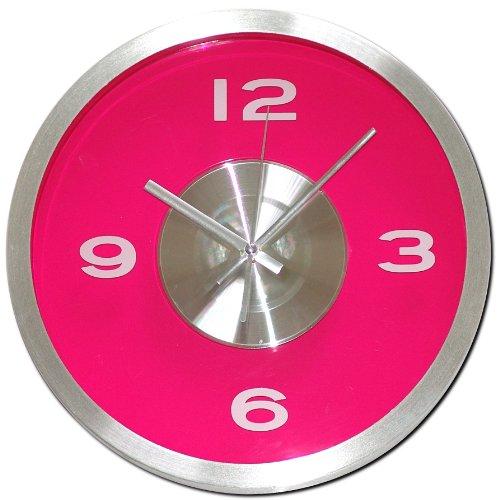 Wanduhr Pink Fuchsia Transparent Wand Uhren Analog Aluminium Kunststoff Deko Uhr