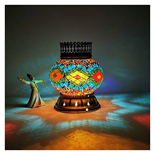 Lámpara de mesa, funciona con pilas, lámpara de mesa decorativa, bombilla LED incorporada, portátil, estilo turco, lámpara de noche sin cable, 10 colores de la mesita de noche (color: 8)