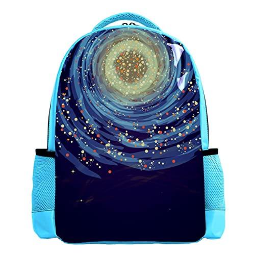 YATELI Mochila ligera para la escuela,Galaxia colorida , Mochila informal clásica básica resistente al agua para viajes con bolsillos laterales para botellas