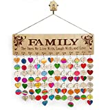 Wooden Calendar Plaque Family Birthday Board Wall Hanging Calendar with 100 Tags, Birthday Reminder Calendar Board Signs- Birthday Gifts for Mother/Grandma/Dad/Fathers Day from Daughter/Son
