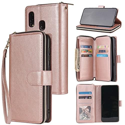 Caso del tirón del teléfono Funda de billetera para Samsung Galaxy A20E, Premium Soft PU Zipper con cremallera PULGO FOLIO FOLIO CON TARJETA DE MUCHACHA TARJETA SLOT CASE DE PROTECCIÓN PARA SAMSUND GA