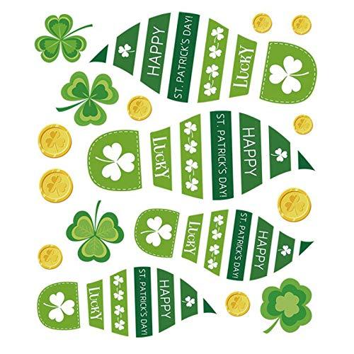 Moent 6 pegatinas para el día de San Patricio, para el suelo, diseño de tréboles, color verde