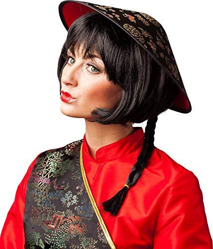 Chinesenhut schwarz mit langem Zopf Karneval Fasching