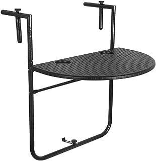 Sundale Outdoor Indoor Folding Hanging Table Adjustable Balcony Railing Table for Patio, Garden, Deck, Black Wicker Finish, 23.6