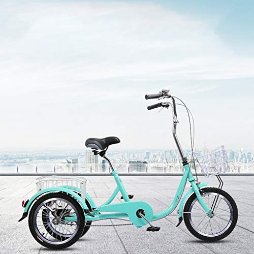 OFFA Dreiräder 16 Zoll Adult Tricycle 3-Rad-Bike, DREI Rad-Bike Cruiser Fahrrad Pedal Dreirad Mit Einkaufswagen, Dreirad Trikes Frauen Männer Senioren for Freizeit, Shopping, Übung, Lastenfahrrad