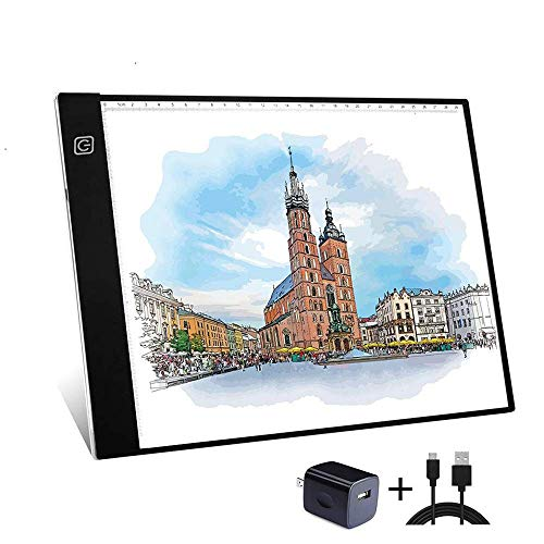 Mesa de Luz Dibujo A4, LonEasy LED Tableta de Luz de Iluminación de la Caja de Alimentación Brillo regulable LED Artcraft con Cable USB Ideal para Artistas, Dibujo, Bocetos,...