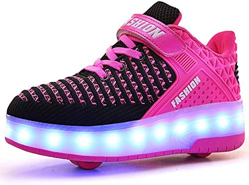 Nsasy Roller Skates Shoes Roller Sneakers Led Light Up Shoes Luminous Shoes for Boys Girls Kid USB Charging Shoes Rechargeable Shoes Wheel Sneakers
