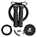 XGEAR Speed Jump Rope for Light Skipping -2 Adjustable Cable Ropes - Tangle-Free - Round Pounch-for Men Women WOD Workout,HIIT Workouts,MMA, Endurance Training (10ft, Black)