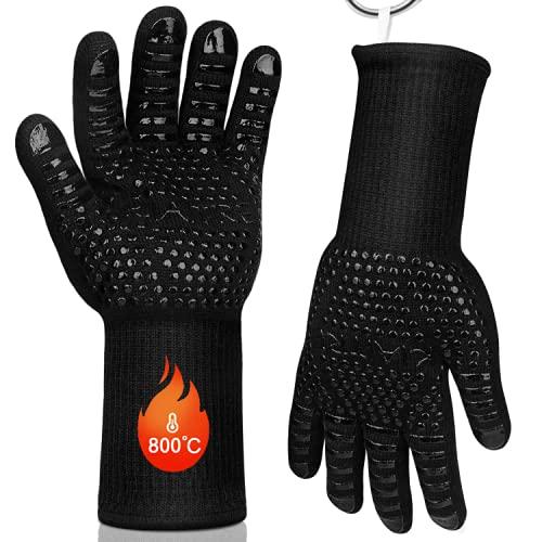 Kiaitre Grillhandschuhe-Ofenhandschuhe Hitzebeständig bis 800°C, rutschfeste Backhandschuhe mit Unterarmschutz, zum Kochen, Grillen, Backen, Schweißen 1 Paar
