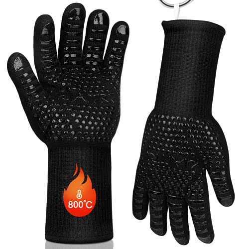 Kiaitre BBQ Gloves - Extreme Heat Resistant Grill Gloves High up to 800...