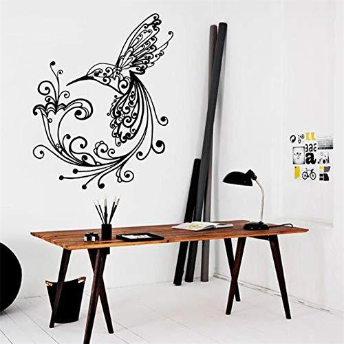 AQjept Colibrí pájaro Lirio patrón Pared calcomanía Graffiti Vinilo Natural calcomanía Pegatina decoración del hogar Mural de habitación84x106cm