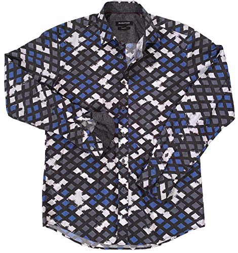 Bugatchi Men's PAINTBRUSHED Check Grey-Black W/Blue,White L/S Shaped FIT Sport Shirt Small