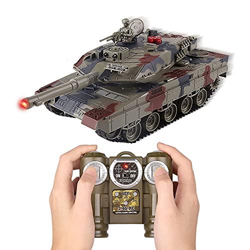WZRYBHSD Tanque De Control Remoto De 2.4GHz, Modelo De Tanque Militar De Juguete, Torreta Giratoria De 320 °, Simulación RC Army Tank Truck, Tanque De Infrarrojos Eléctrico, Efecto De Sonido Y Humo