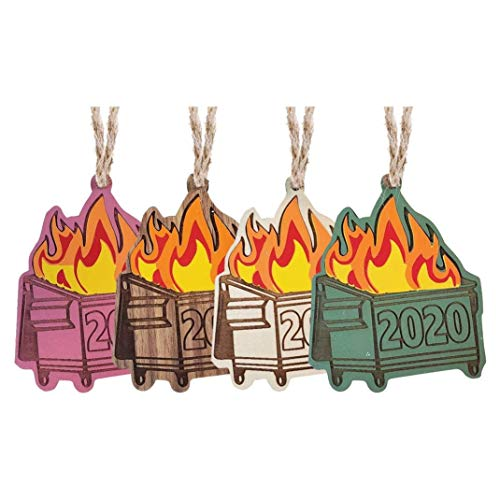 3PC Mixing 2020 Dumpster Fire Christmas Ornament Tree Wooden Pendants, Trash Can Fire Personalize Creative Design Family Holiday Decorations (F)